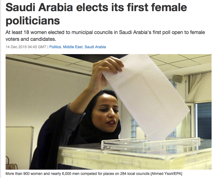 Saudi Elections Headline